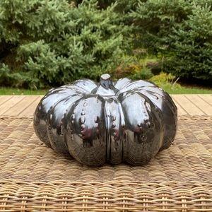 Metallic Gunmetal Ceramic Pumpkin Fall Decor